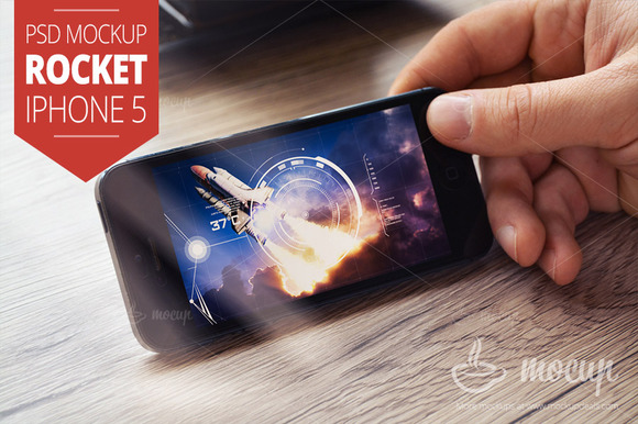 IPhone 5 PSD Mockup Rocket
