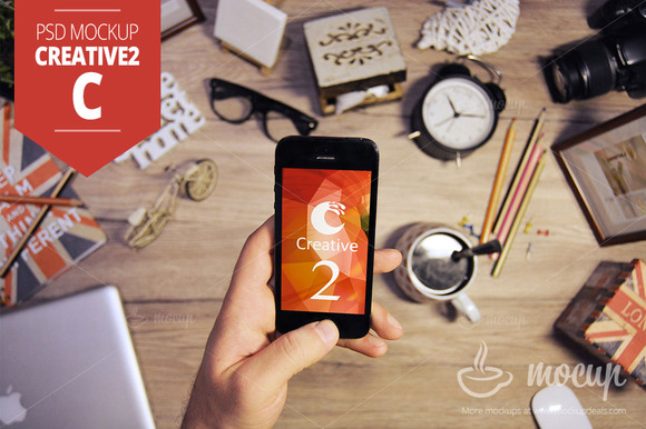 IPhone 5 PSD Mockup Creative 2 C