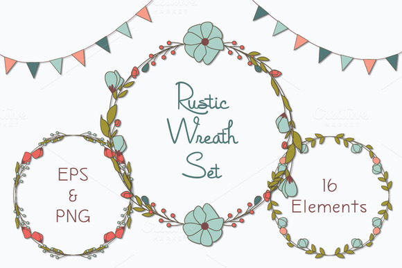 Rustic Wreaths Clipart PNG EPS