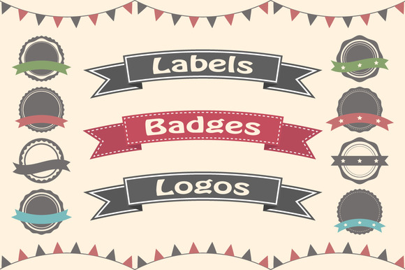 Set Of 30 Badges Labels And Logos