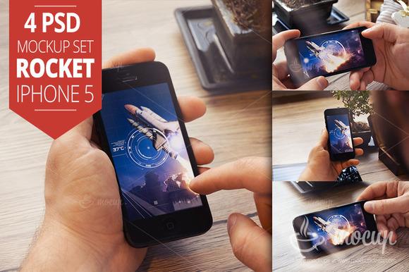 4 PSD IPhone 5 Mockup Set Rocket