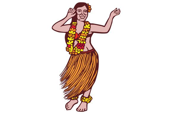 Polynesian Dancer Grass Skirt Linocu