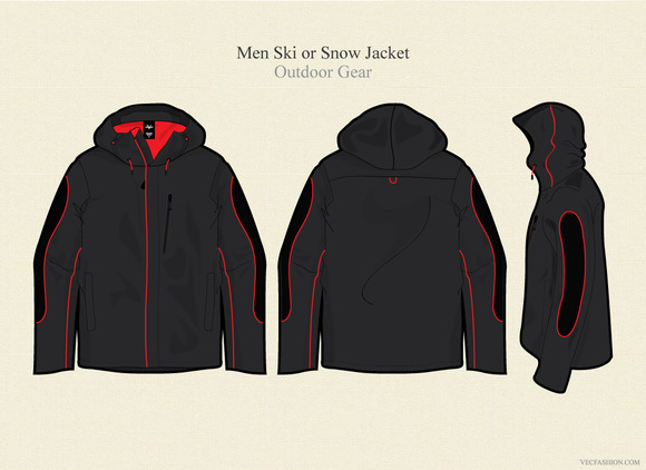 Men Ski Or Snow Jacket Vector
