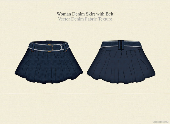 Women Denim Skirt With Belt