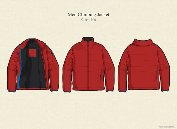 Men Climbing Jacket Vector Template
