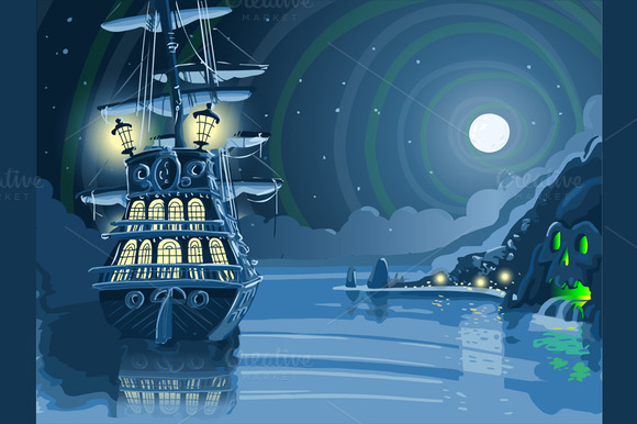 Nocturnal Island With Pirate Galleon