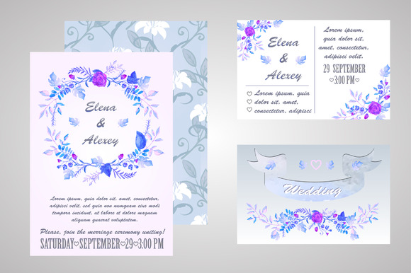 Watercolor Floral Invitation Set