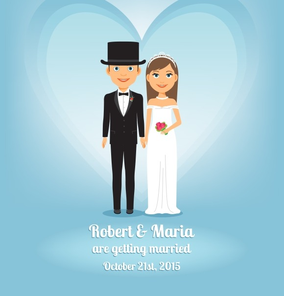 Cute Cartoon Bride And Groom