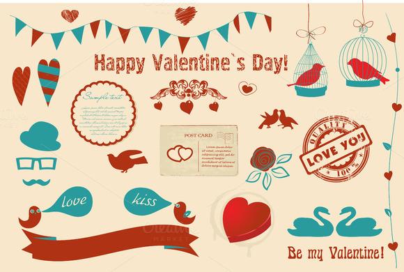 Valentine`s Day Vintage Clipart