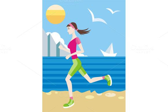 Girl In A Sports Uniform Jogging