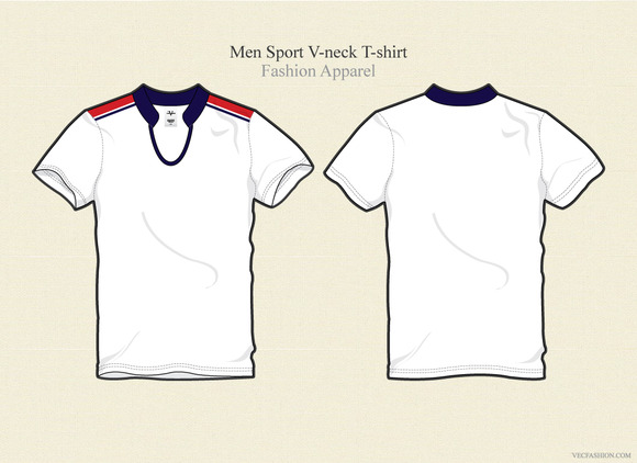 Men Sport V-neck T-shirt