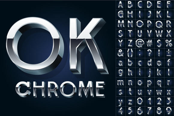 Silver Chrome And Aluminum 3D Font
