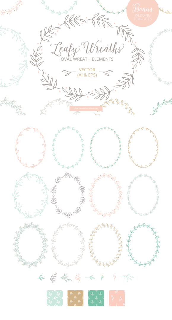 Oval Leaf Wreath Graphics