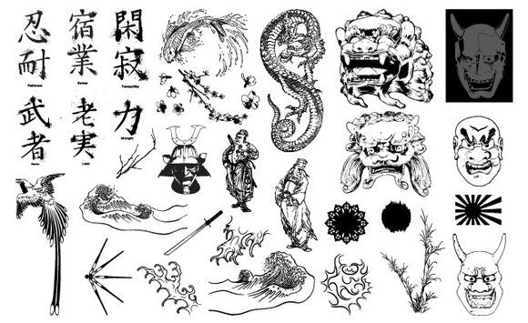 East Asian Folk Art Vector Pack