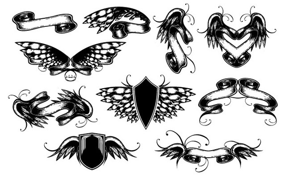 Winged Scrolls Vector Pack