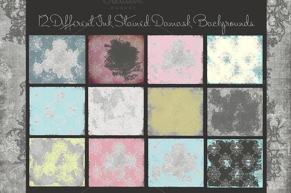 Ink Stained Damask Background Papers