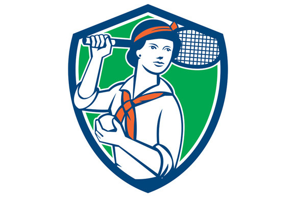 Female Tennis Player Racquet Vintage