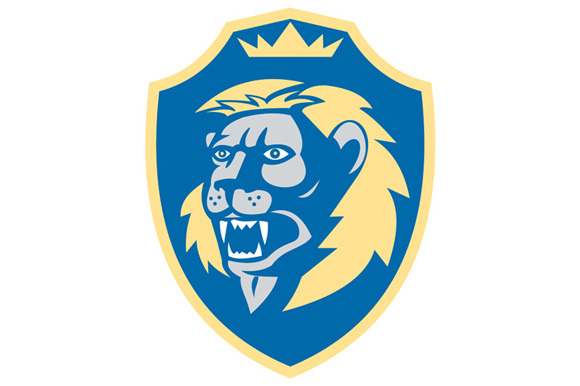 Angry Lion Head Roar Shield Retro