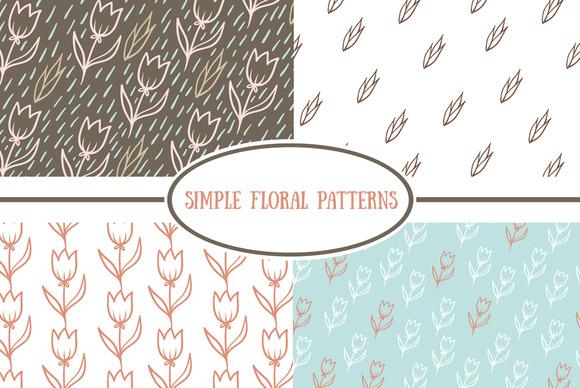 Set Of Simple Floral Patterns