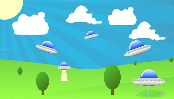 Flying UFO Vector Illustration