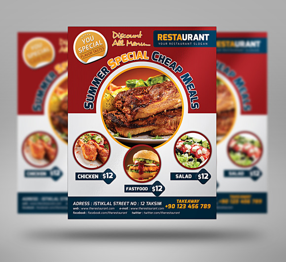 University Fast Food Flyer 3 Color