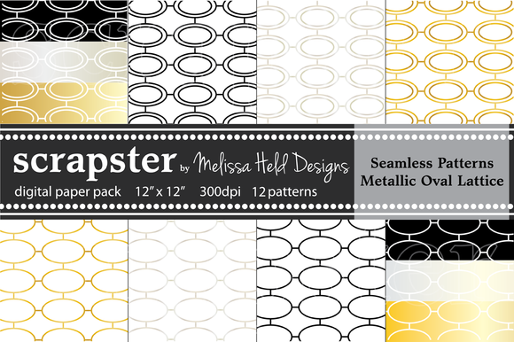 Seamless Patterns Metallic Ovals