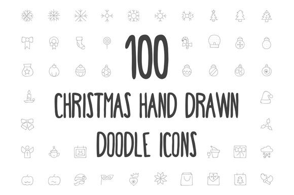 100 Christmas Hand Drawn Icons