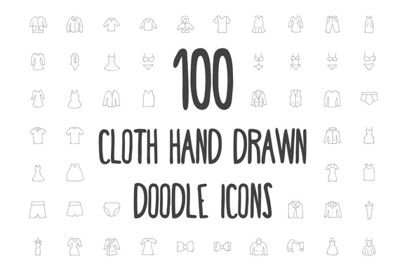 100 Cloth Hand Drawn Doodle Icons