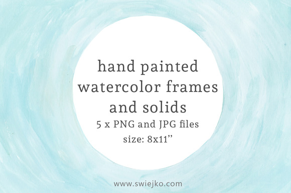 Watercolor Frames And Solids Blue