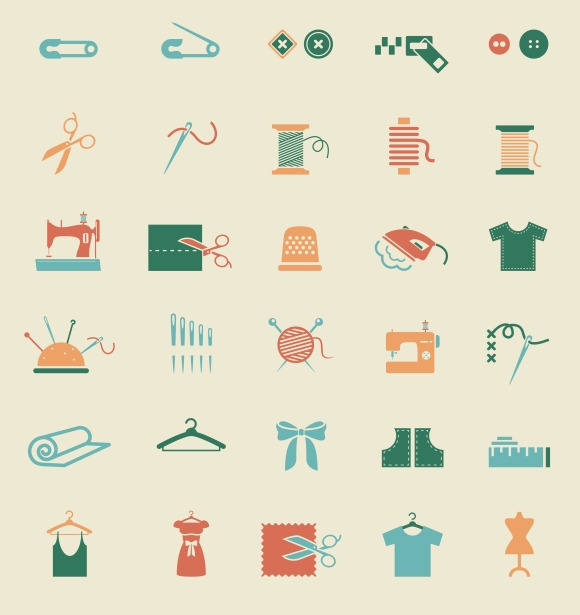 Sewing Equipment Needlework Icons
