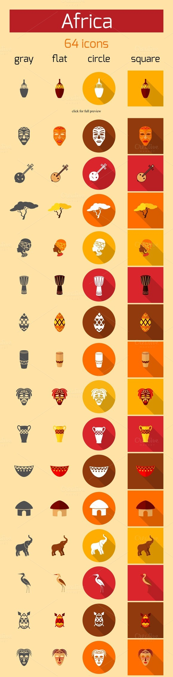 64 African Ethnic Vector Icons