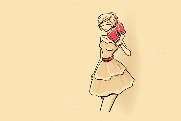 Elegant Woman Holding Clutch
