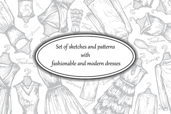 Set Of Hand Drawn Dresses