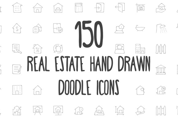 Real Estate Hand Drawn Doodle Icons