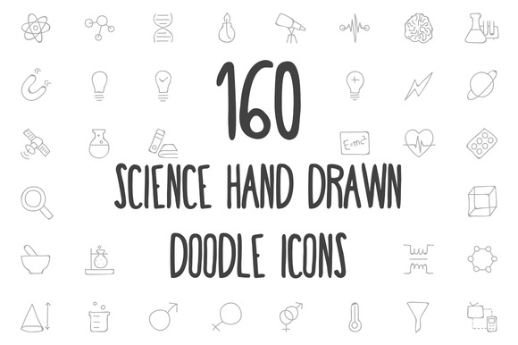 160 Science Hand Drawn Doodle Icons