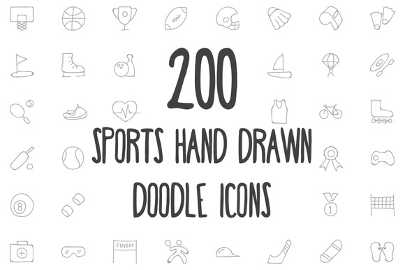 200 Sports Hand Drawn Doodle Icons