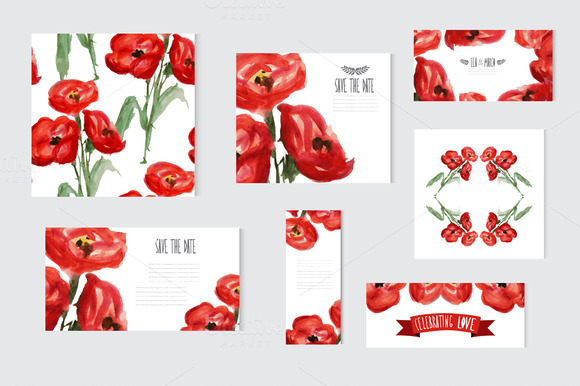 Watercolor Floral Cards With Poppies
