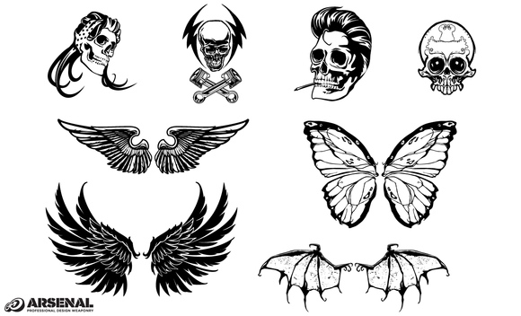 Skull And Wings Vector Pack