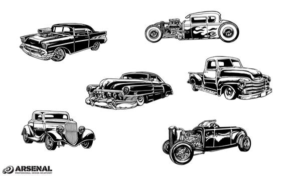 Vintage Cars Vector Pack