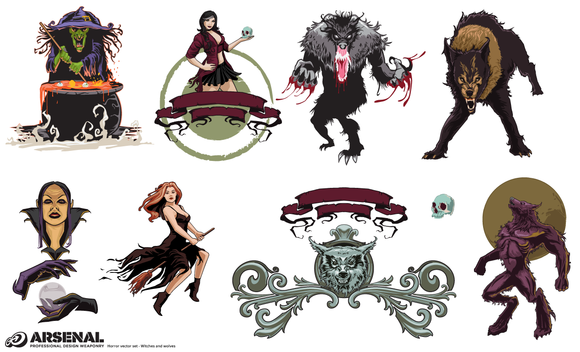 Witches Wolves Vector Pack