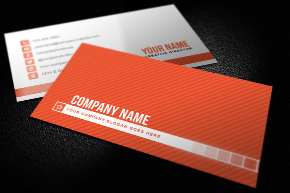 Simple Striped Business Card Templat