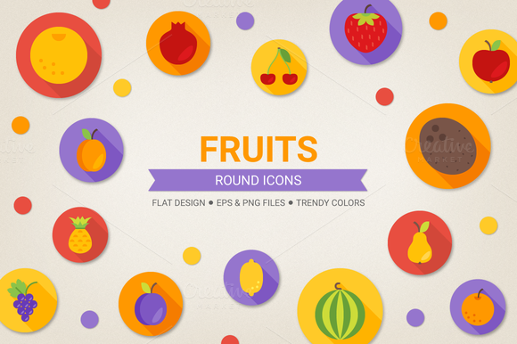Round Fruits Icons