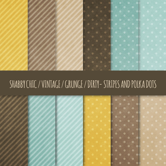 Grunge Polka Dots Stripes Patterns