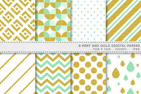Mint And Gold Patterns Digital Paper