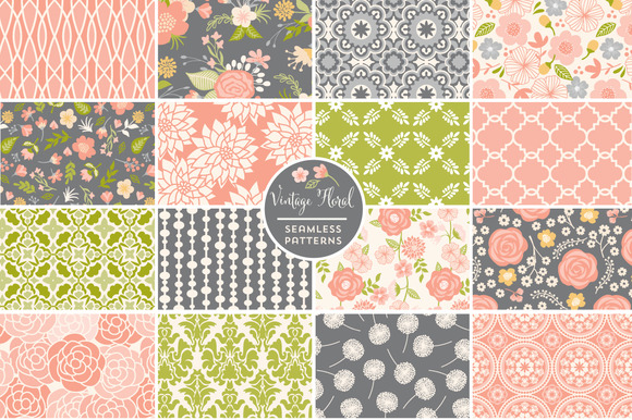 Vintage Floral Seamless Patterns