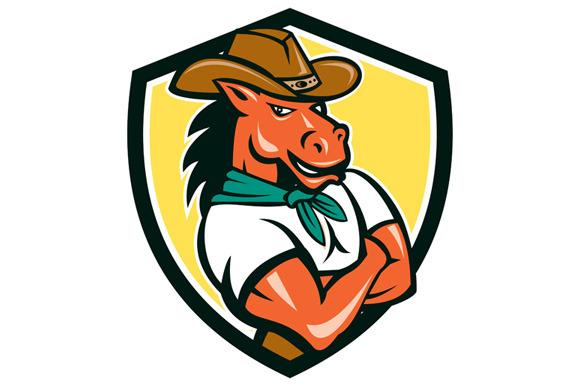 Cowboy Horse Arms Crossed Shield Car