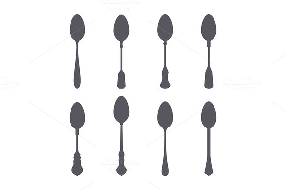 Set Of Spoon Silhouette Isolated