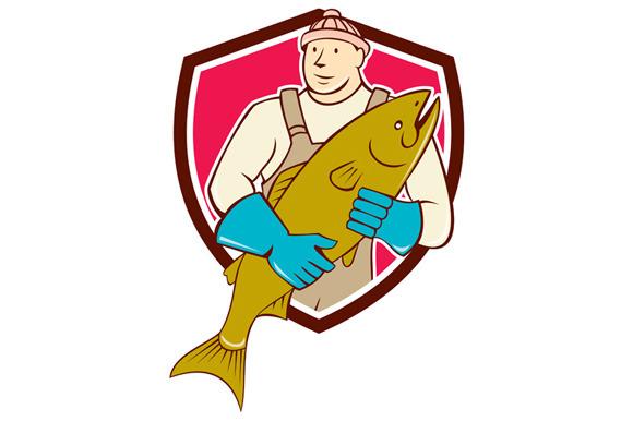Fishmonger Holding Salmon Fish Shiel
