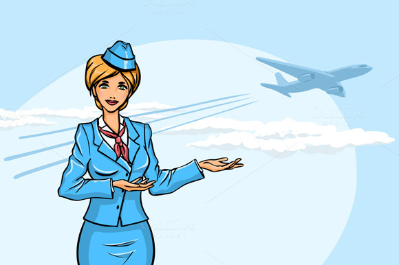 2 Images With Stewardesses