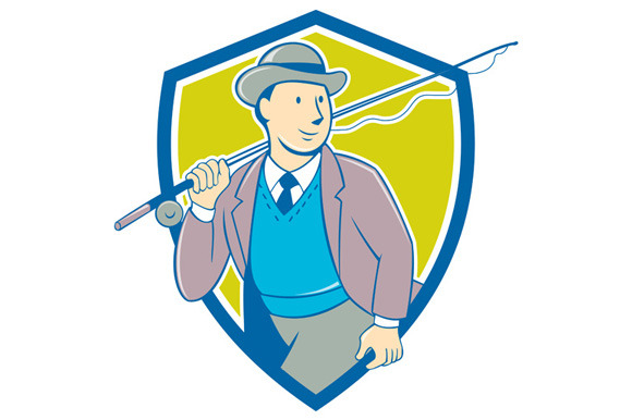 Vintage Fly Fisherman Bowler Hat Shi
